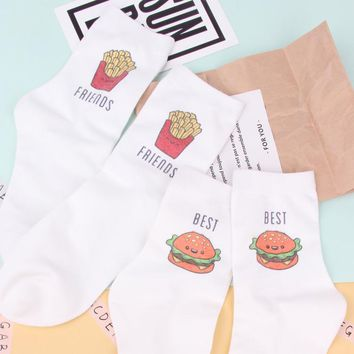 Foot 22-25cm Short Socks Big Mac French Fries Best Friends King Max Salads Fat Burger Hamburger Fast Food Yummy Cotton Elastic