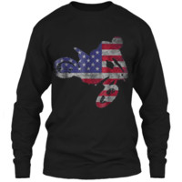 Dirt Bike American Flag T-Shirt | Motocross Enduro Shirt LS Ultra Cotton Tshirt