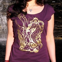 Seahorse Roboticus - Steampunk Robot Women's Scoop Neck T-shirt