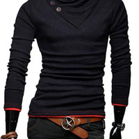 Buttoned Stand Collar Long Sleeve Sweatshirt