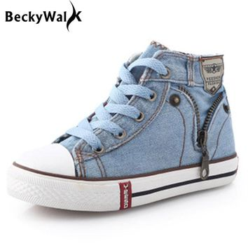 Children Sneakers Kids Canvas Shoes for Girls Boys denim jeans Kids Boots High-top Girls Sneakers Boys Shoes Size25~37 CSH245