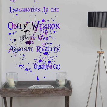 kcik1746 Full Color Wall decal poster space Watercolor paint splashes Alice in Wonderland Cheshire cat quote children's room