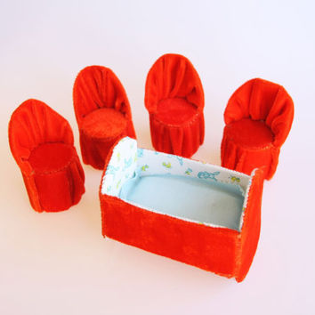 Bright red velvet dollhouse set consisting of 4 chairs and a bed