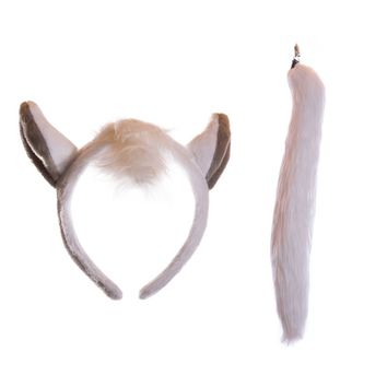 Plush White Horse Ears Headband and Tail Set for Horse Costume, Cosplay, Pretend Animal Play or Farm Party Costumes