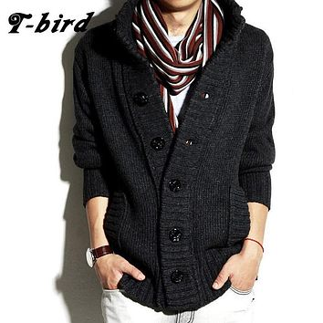 T-bird 2017 Brand Fashion Mens Wool Cardigan Sweaters Men'S Thick Stand Collar Pullover Korean Full Sleeves Slim Mens Sweaters