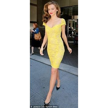 New Fashion 2015 Yellow Lace Cocktail Dresses Knee Length Prom Dress Miranda Kerr Short Celebrity Dress vestido social