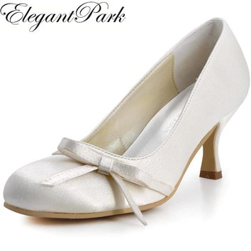 Shoes Woman A0756 Ivory White Round Toe Mid Heels Bow Satin Bride Bridesmaids Prom Evening Pumps Women Wedding Bridal Shoes