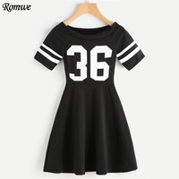ROMWE Ladies Digital Print Striped Sleeve Flare Dress Summer Dresses Casual Womens Black Short Sleeve A Line Dress