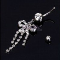 Belly Button Ring Curved Silver&Transparent Body Piercing Navel Ring Jewelry