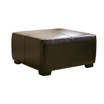Baxton Studio Dark Brown Full Leather Square Ottoman Footstool Set of 1