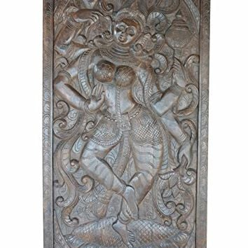 Vintage Hand Carved Durga Goddess SHAKTI Barn Doors Indian Divine ECLECTIC Wall Panel
