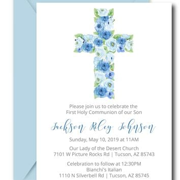 Blue Floral First Communion Invitations