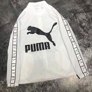 PUMA Trending Women Men Stylish Back Big Logo Print Hooded Zipper Cardigan Sweatshirt Jacket Coat Windbreaker White I-YF-MLBKS