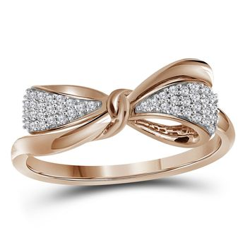 10kt Rose Gold Womens Round Diamond Ribbon Bow Knot Band Ring 1/8 Cttw