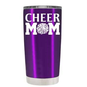 Cheer Mom Pom Pom on Violet 20 oz Tumbler Cup
