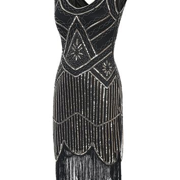 DlFASHION Women's 1920s Gatsby Retro Sequined Embellished Fringed Flapper Party Ball Dress