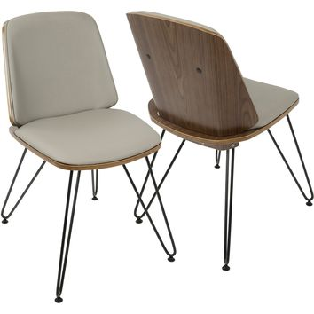 Avery Mid-Century Modern Accent/Dining Chairs, Walnut & Grey (Set of 2)