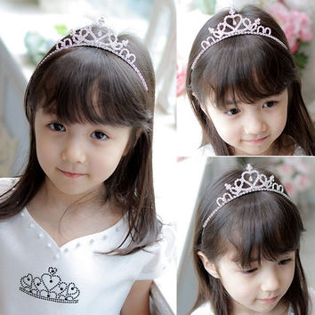 Cute Children Kids Girls Rhinestone Princess Hair Band Crown Headband Tiara SV001649 (Color: White) = 1712970244