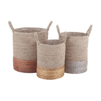 Metallic Natural Fiber Baskets