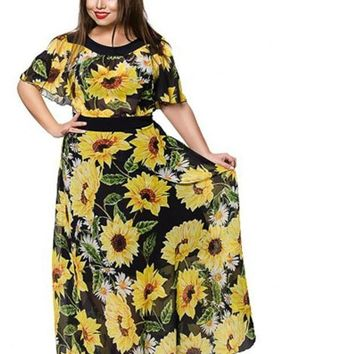 drew plus Size Sunflower Floral Print Dress Summer Women Chiffon Long Batwing Sleeve Maxi blue yellow black