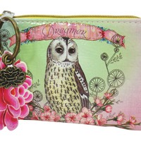 """Papaya Art Vintage Owl and Flower Art with Lotus Charm """" Dreamer"""" Coin Purse"""