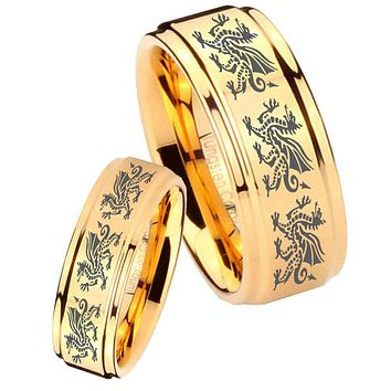 His Her Glossy Step Edges Multiple Dragon 14K Gold IP Tungsten Wedding Rings Set