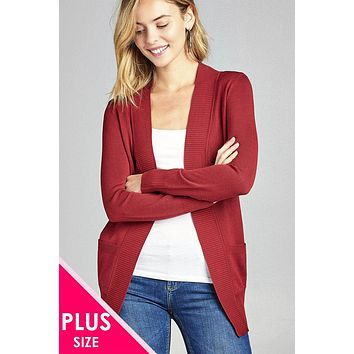 Ladies fashion plus size long sleeve rib banded open sweater cardigan w/pockets