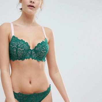 ASOS FULLER BUST Amelia Paisley Lace Padded Underwire Bra at asos.com