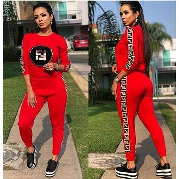 FENDI Trending Women Stylish Print Top Sweater Pullover Pants Trousers Set Two-Piece