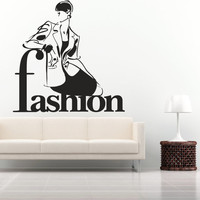 How to draw Interior Wall Decal Vinyl Sticker Art Decor Design Fashion shopping girl beauty salon silhouette clothing shop inscription (i51)