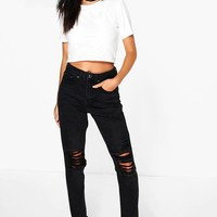 Sophie High Waisted Knee Rip Mom Jeans