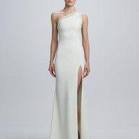 One-Shoulder Laced-Back Jersey Gown