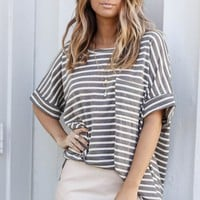 Best Wishes Charcoal Basic Striped Top