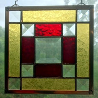 "Jo's Bevel 6"" Handmade Stained Glass Appalachian Quilt Square in Red/Gold with Nine Clear Glass Bevels"