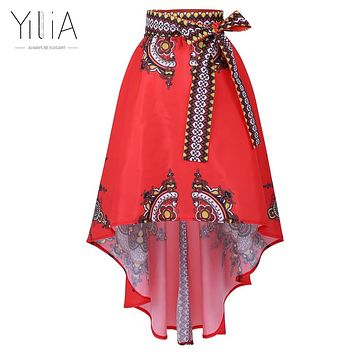 Dashiki Skirt African Print Clothing 2017 Boho Summer Beach Maxi Skirts Vintage Flare High Waist Tribal Print Jupe Longue Femme