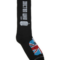 Doctor Who Logo Union Jack TARDIS Crew Socks