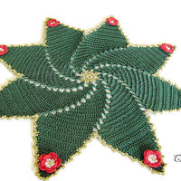 Christmas Doilies, Christmas Gift, Round Doily, Green Doily, Red Doily, Table Decoration, Centrino Natale (Cod. 13)