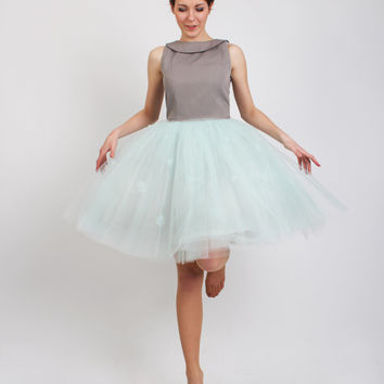 The Cinderella dress: tulle skirt dress with handmade flowers / collared dress