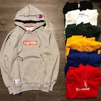 DCCKFC8 Supreme X Champion Unisex Top Sweater Pullover Hoodie