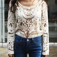 Semi Sheer See Through Sleeve Embroidery Floral Lace Crochet T -Shirt 3 Color