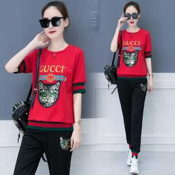 GUCCI Woman Men Fashion Embroidery Shirt Top Tee Pants Trousers Set Two-Piece