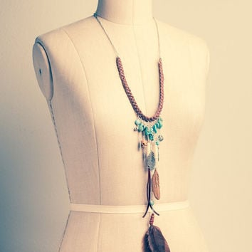 Bohemian Necklace - Tribal Necklace w/ Leather & Feathers