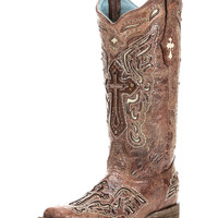 Women's Cognac/Bone Inlay Cross & Studs Square Toe Boot - C2856