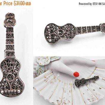 ON SALE Vintage Sterling Silver Filigree Bass Guitar Brooch, String Instrument, Openwork, Cello, Musical, Music, So Sweet! #b789