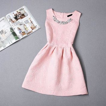Tween Girls  Sleeveless Solid Color Dress - Slim Fit - Free Shipping