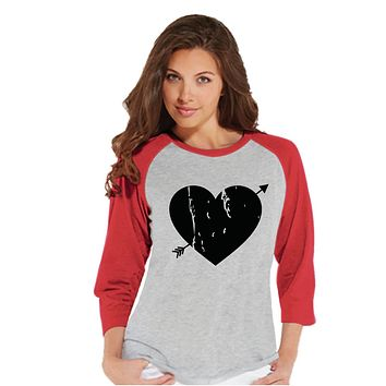 Ladies Valentine Shirt - Womens Heart Arrow Shirt - Valentines Gift for Her - Cupid Shirt - Rustic Happy Valentine's Day - Red Raglan Shirt