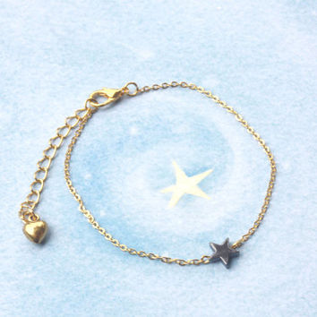black star bracelet, star bracelet, delicate gold bracelet, rock star bracelet, star jewelry, tiny star jewelry, wish bracelet, black star