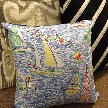 "Get Nauti Lilly Pulitzer 16x16"" Pillow & Cover Zip"