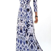 Watercolor Blue Waters Aztec Maxi Cleavage Dress