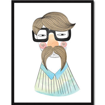Digital Drawing Digital Illustration Mustache Disguise Glasses Man Portrait Poster Print Art Wall Decor